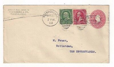 1899 Toledo OH, Advertising, Churchill & Co, to Netherlands, Uprated Stationery