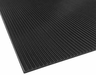 """Ribbed/Corrigated Rubber Matting Black Roll 1/8"""" thick x 36"""" wide Cut-to-Size"""