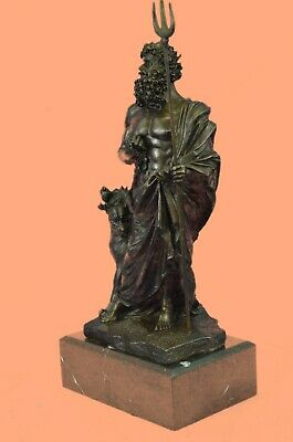 Art Deco Mythical Hand Made Pluto with Faithfull Dog Bronze Sculpture Statue Sal