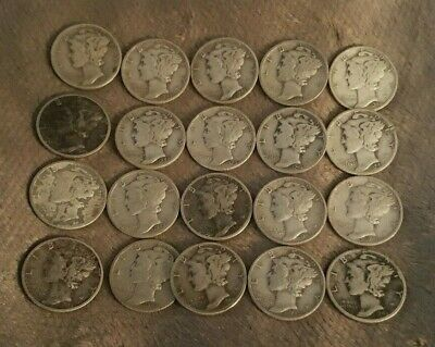 Mercury Dimes - Lot of 20, 1940's dates 90% Silver Mercury Dimes