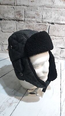fd39fee3ff73 DOCKERS MEN'S WOOL-BLEND Trapper Hat - Charcoal w/Fur Trim - S/M ...