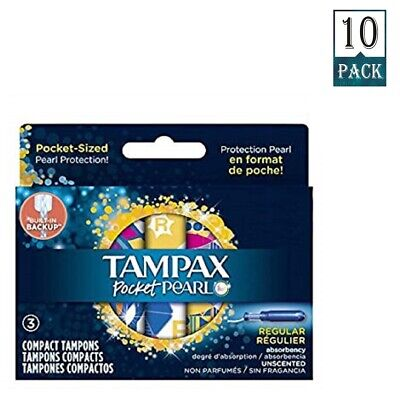Travel Size Tampax Pearl Regular Plastic Tampons Unscented Pocket (Pack Of 10)