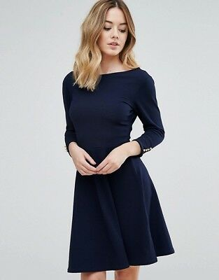 98b84d876c Club L Crepe Skater Dress With Bow Back And Button Detail - navy - 16