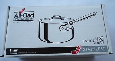 All Clad Stainless Steel 1.5 quart Sauce Pan with Lid Brand New in Box 100% Atht