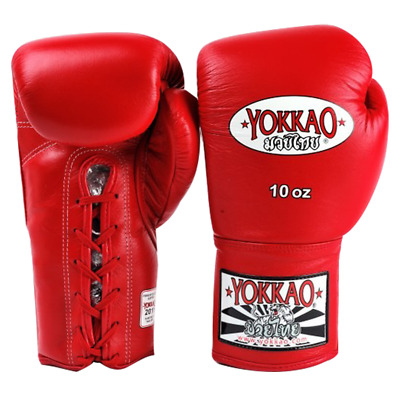 NEW YOKKAO MUAY Thai Kick Boxing K1 Gloves Matrix Lace Up Red Leather