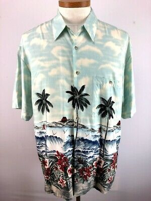 ab4e74b89 Vintage Pierre Cardin Mens Hawaiian Shirt Palm Trees Ocean Size Large