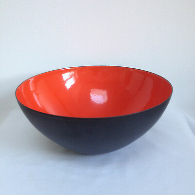 Signed 25cm Original Herbert Krenchel Krenit Denmark Orange Red Enamel Bowl