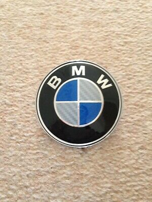 NEW Blue/Silver BMW Boot Bonnet Carbon Effect Badge 82MM For 1 2 3 4 5 7 Z4 X5
