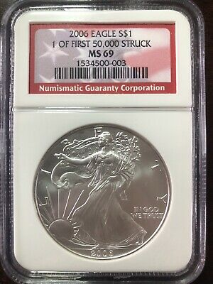 2006 AMERICAN SILVER EAGLE NGC MS69 FIRST STRIKE (FIRST 50,000 STRUCK) 1oz .999