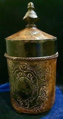 Charming Antique Styled Tin/Metal Jar with Lid, Wonderful Details