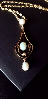 Antique Art Nouveau 9ct Rosy Yellow Gold & Opal Necklace, Lovely!
