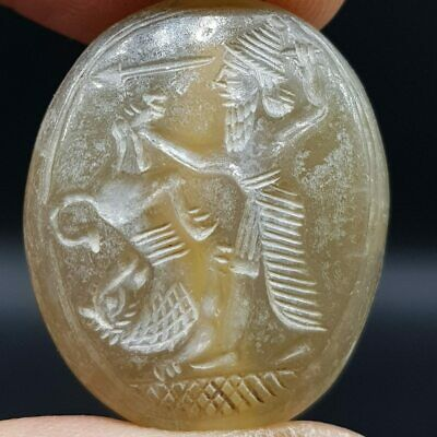 Sassanian King & Lion Agate Ancient Seal Stone Bead   #9T