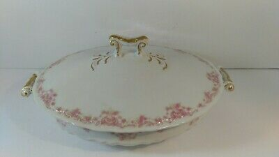 Antique Theodore Haviland Limoges Casserole Serving Dish RARE Pink Daisy Asters