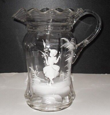 "Antique Victorian Mary Gregory Blown Clear Glass 9 1/2"" Pitcher Hand Painted"