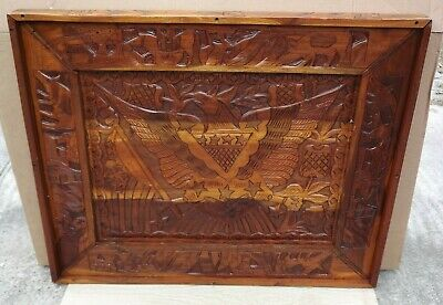 Vintage to Antique Large Hand Carved Wood Chess Board Checkers Board