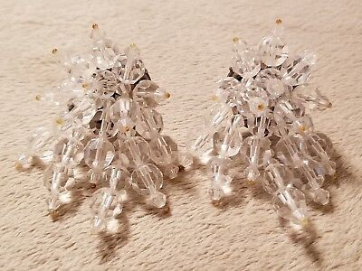 Vintage Large Beaded Cluster Earrings Clear Faceted Clip On