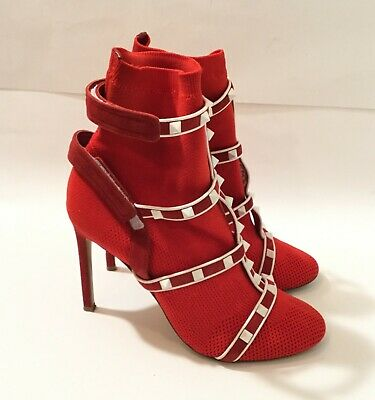 322fadd18a1a Valentino Rockstud Bodytech Red White Sock Knit Ankle Heel Boot Bootie 39