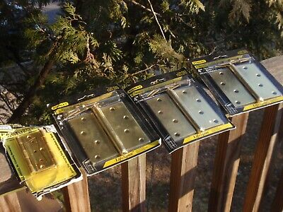 5 Brass Hinges For Doors Stanley  4 Inch Square Corners  New Fasthinge No Pin