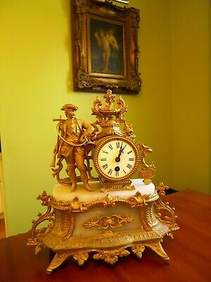 Antique French Figural Gilt Bronze Hunter Ornate Marble Mantal Clock.