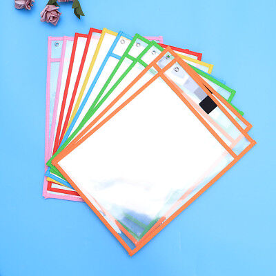10pcs Dry Erase Pocket Sleeves Assorted Colors Stationery for Kids Students
