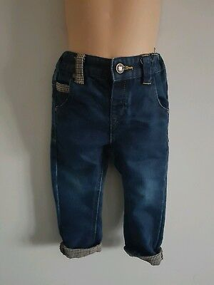 NEXT Baby Boys Smart Blue Denim Jeans Turn Up Tweed Check Age 18-24 Months