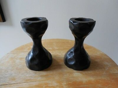Pair of Vtg. Novelty Carved Burl Wood Candle Holders, Mahogany, Hourglass Shape