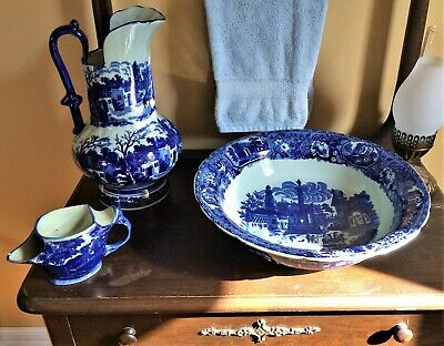 Antique Styled Flow Blue Victoria Ware Large Bowl~Wash Pitcher~Soap & Shave Cup