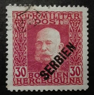 AUSTRIA - OCCUPATION OF SERBIA STAMPS - EMPEROR FRANZ JOSEPH - 30H, 1916, used