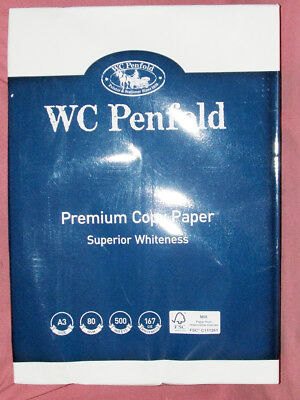 WC Penfold Premium Copy Paper A3 80gsm 500 sheets Superior whiteness (CIE 167)