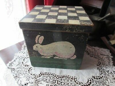 Old Primitive Box Hinged Hand Painted Bunny Black White Checkered Easter Decor