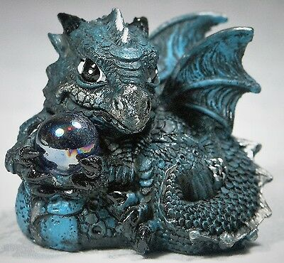 1 x 7cm Turquoise Blue Baby Dragon with crystal ball Figurine 9319844525503 NEW