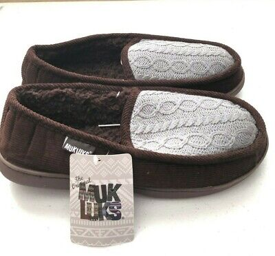 efe680fb6763 MUKLUKS Mens Moccasin House Shoes Slippers M 10-11 Brown Corduroy Knit