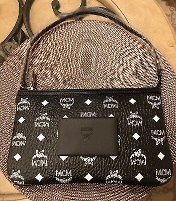 f1effac93a32 Authentic MCM Luggage Black Leather Pouch Clutch Bag Wallet NEW Rare Limited