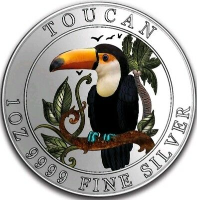 2018 $1 Niue PROOF COLORED TOUCAN 1 Oz Silver Coin.