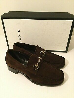 e994f194046e8b MENS NEW GUCCI Brown Suede Horsebit Loafers Shoes - Size 8 - $250.00 ...