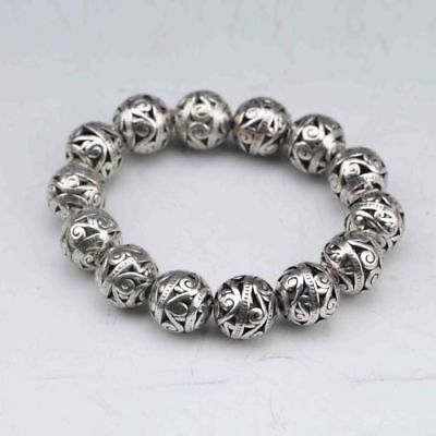 Collectable Tibet Silver Copper Hand Carved Hollow small ball Bracelet