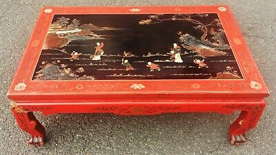 Mid-Century MODERN Asian CHINOISERIE Style Decorated Red & Black COFFEE TABLE