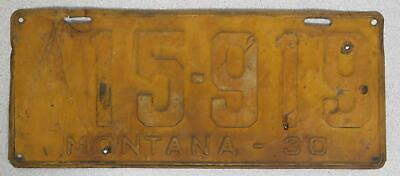Single 1930 Montana License Plate 15-919, Embossed Old Rusty License Plate Steel