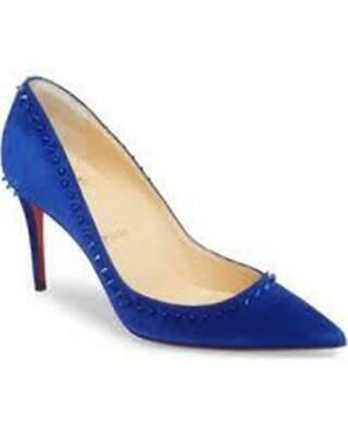 Christian Louboutin Anjalina 85 Spiked Stud Suede Heels Pumps Shoes Blue 845