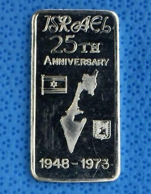 1973 Israel 25th Anniversary 1 Troy Ounce .999 Fine Silver Bar, Great Lakes Mint