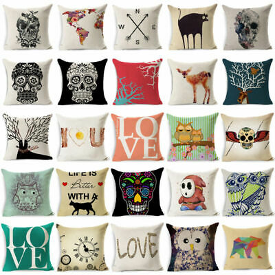 Cotton Linen Cushion Cover Bed Sofa Home Decor Letter Deer Skull Pillow Case