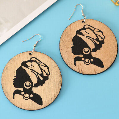 Bohemia Wooden Stud Earrings Big Circle African Queen Puff Hair Jewelry