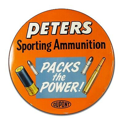 Peters Sporting Ammunition Reproduction Aluminum 11.75 Inch Circle Sign