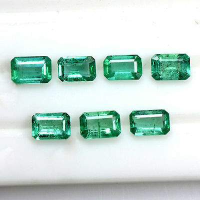 3.58 Cts Natural Fine Green Emerald Cut Loose Gemstone Octagon Lot 6x4 mm Zambia