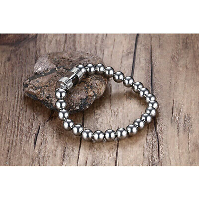Women Mens Jewelry 316L Stainless Steel 6/8mm Beads Balls Chain Bracelet