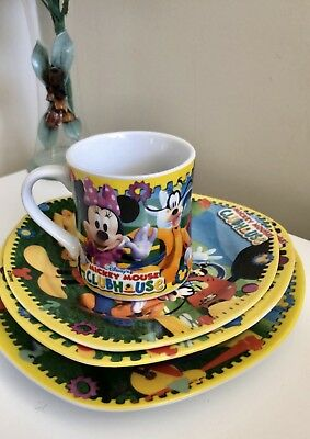 Mickey Mouse Clubhouse 4 Piece Dinner Set Made In Spain EUC