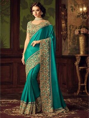 Bollywood Indian Firozi Saree Sari Bridal Wedding Pakistani Saree Party Wear TZ