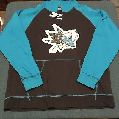 San Jose Sharks Hoodie Pullover Lace Up Old Time Hockey Mens Size XL Extra Large