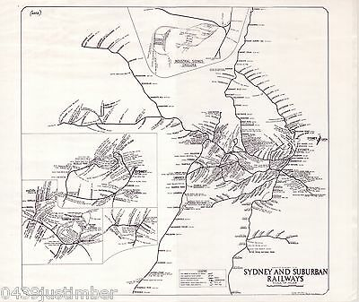 New South Wales Railways Map Showing the Lines In Use In Sydney..1963 A2 size