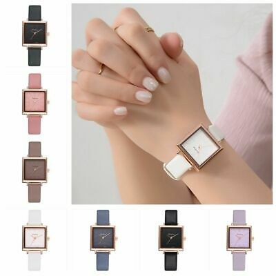 Women Elegant Square Dial PU Leather Band  Analog Quartz Wrist Watch Watches